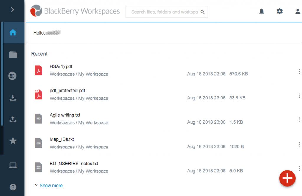 Workspaces Blackberry